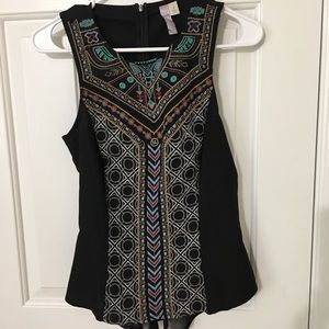 Francesca's Black embroidered sleeveless top
